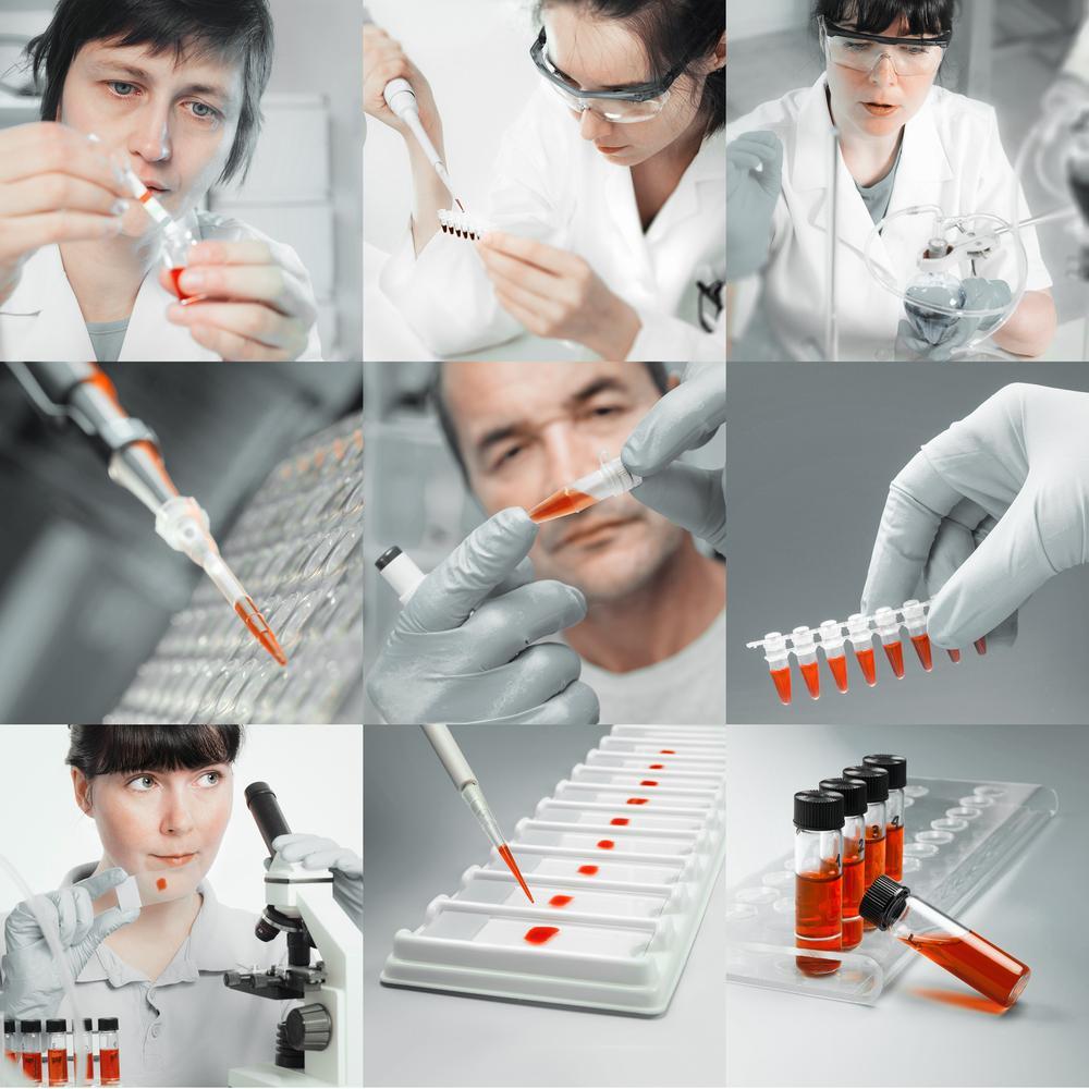 Scienziati che eseguono biopsie