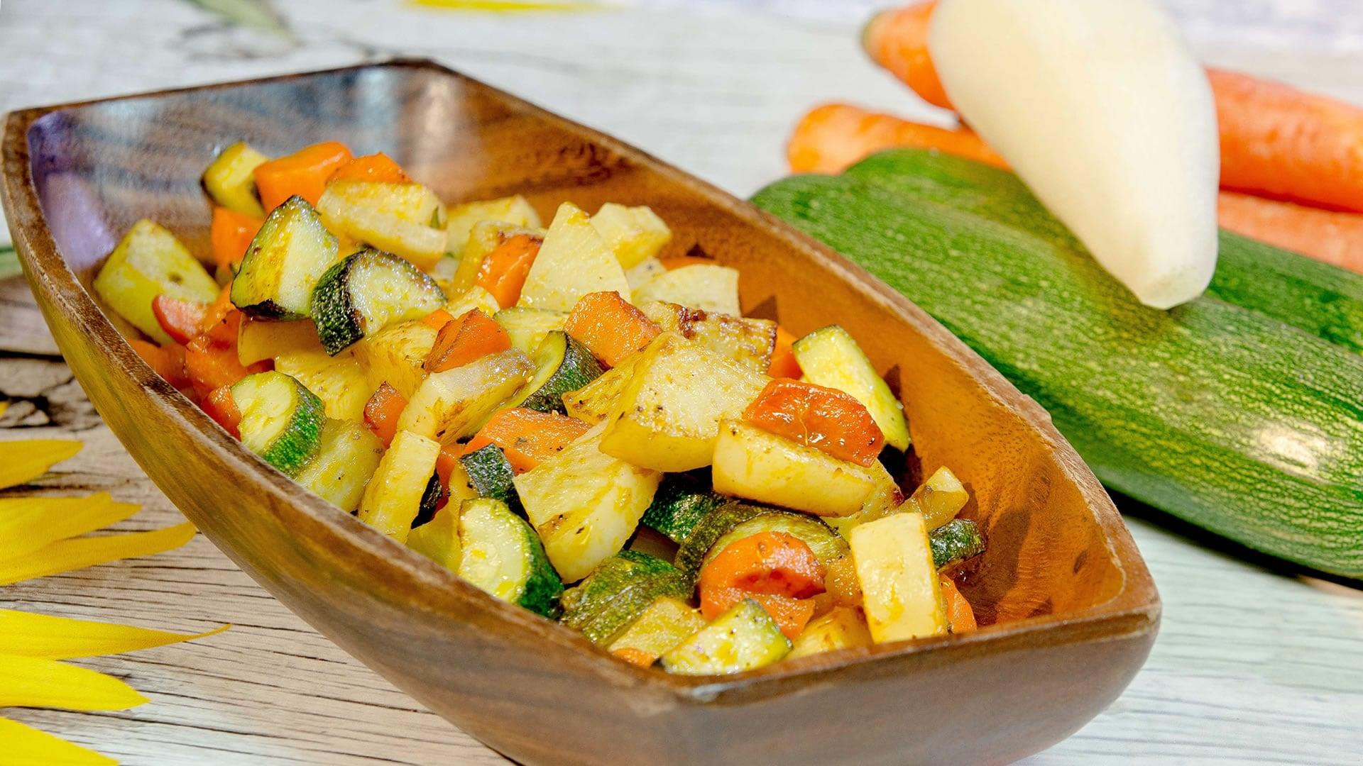 daikon in padella con verdure