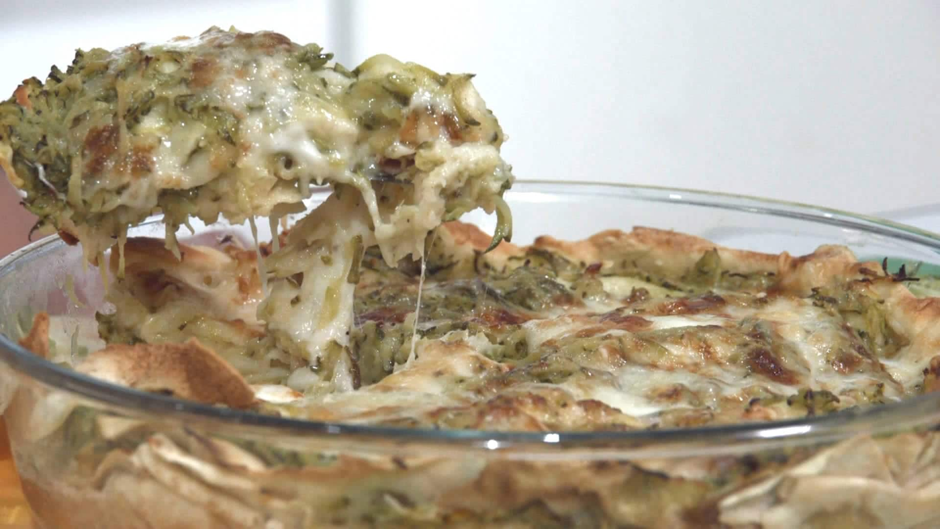 Foto Pasticcio di pane carasau con zucchine stracchino ed Asiago