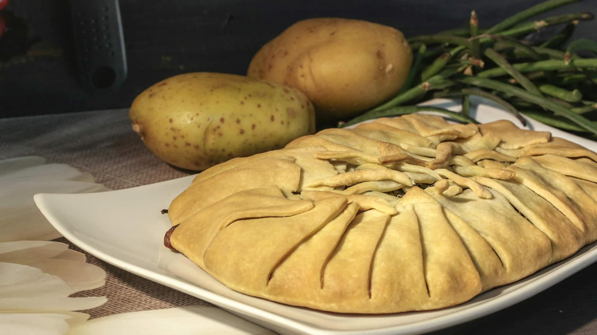 Foto Torta Salata con Fagiolini e Pesto (Senza Uova)