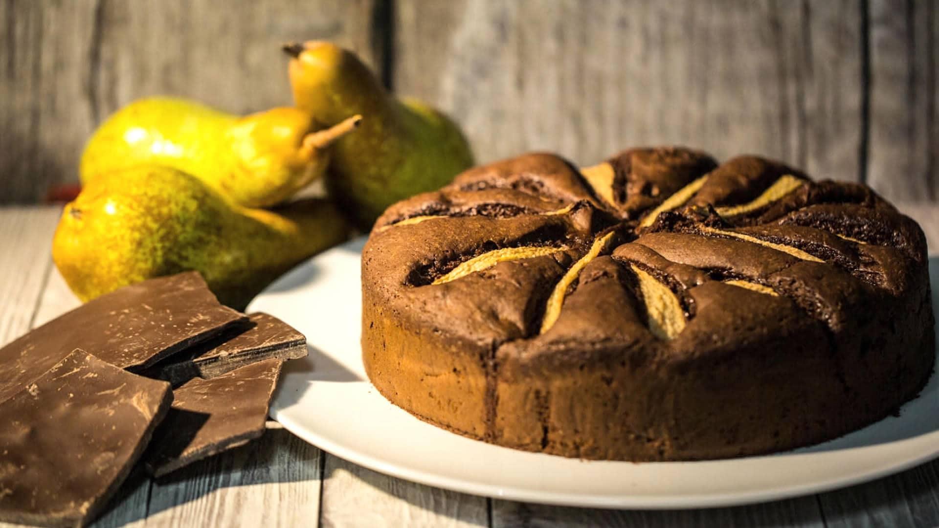 Foto Torta Pere e Cioccolato Senza Burro